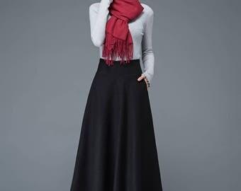 skirt with pockets, winter skirt, black skirt, midi skirt, high waist skirt, black wool skirt, skirt, formal skirt, office skirt C1182