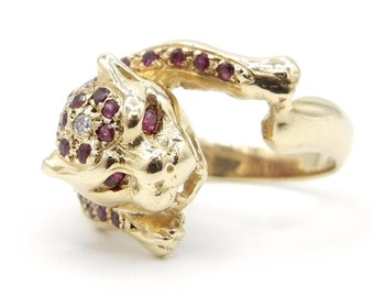 14K Yellow Gold Jaguar Ruby and Diamond Ring - Size 5.5 - Weight 7.7 Grams - Panther Ring - Leopard Ring - Animal - Feline - Figural # 4090