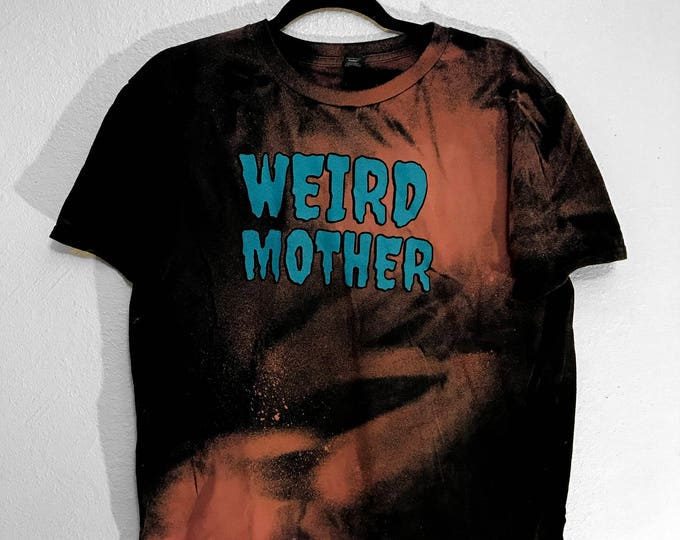 Black and Bleach Weird Mother hand dyed shirt with Aqua Ink