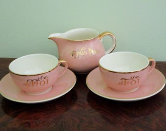 VILLEROY & BOCH -Toi Moi Nous Deux - 5 Piece PINK Coffee Set - Gold Gilding in Great Condition - Perfect Marriage,Anniversary, Birthday Gift