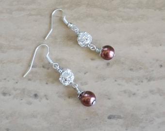 Brown Pearl Earrings, Women's Earrings, Brown Dangle Earrings, Rhinestone Earrings