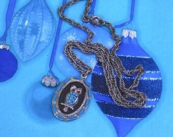 Owl Pendant Necklace ~ Vintage Blue Dangle Charm ~ Red Rhinestone Eyes
