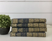 Vintage 4-Book Collection . Blue & Gold Books . Fixer Upper Decor . Farmhouse Cottage Shelf Accents . Old Books