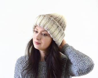 Double Brim Woman Knit Ombre Gradient Hat Beanie Toque | The Agatha