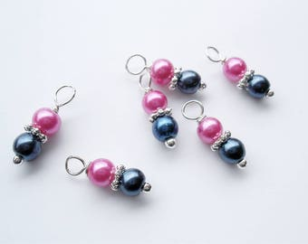 6PC. NAVY/HOT PINK  Pearlized Glass Handmade Bead Dangle Charm//6PC. 14MM Stacked glass bead Charms Adorned with Shiny Silver Tone Accents