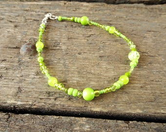 Lime green anklet, beaded anklet, ankle bracelet, lime ankle bracelet, gift for her, boho jewelry, beach jewelry, beach anklet, anklet