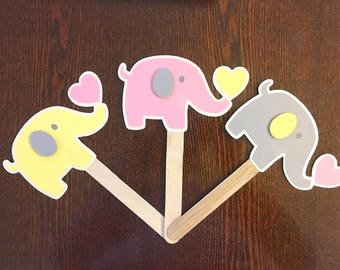 Baby Elephant Cake Topper / Centerpiece, Elephant themed Baby Shower and Birthday Cake Decoration: Pink, Yellow, Gray Party Decorations