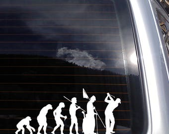 Evolution of Golf Vinyl Decal fits car window, laptop and so much more, 26 colors and custom sizes available K678
