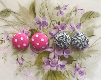 Button Earrings / Set of 2 / Wholesale Jewelry / Handmade Accessories / Pink and Black / Hypoallergenic Studs / Birthday Present