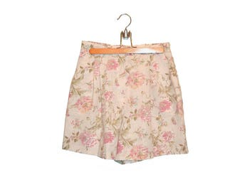 Vintage Floral Print Shorts High Waisted Shorts, Pleated Shorts, Women's Shorts, 80s Shorts Dress Shorts