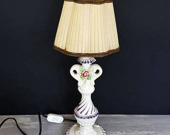 SALE Vintage Porcelain Table Lamp Italian Roses Table Lamp Flowers Boudoir Lamp Shabby Style Bedroom Lamp