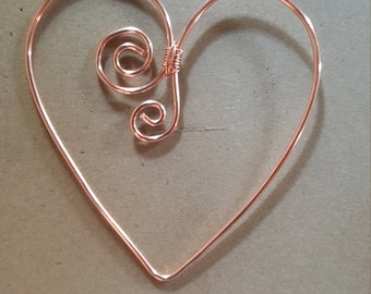 Copper Wire Twisted Bookmark Place Holder Paperclip Stylized Heart