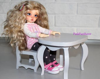 Set of wooden table and chair for 21-28cm doll BJD handmade furniture ~ Littlefee, YoSD, Blythe etc.