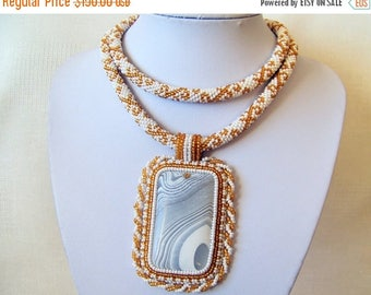 15% SALE Statement Beadwork Bead Embroidery Pendant Necklace with White Onyx Agate - WHITE FLOWER - white and gold colors necklace - modern