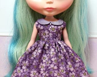 BLYTHE doll collared party dress - sweet violets