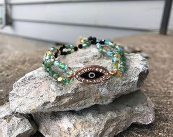 Third Eye Bracelet, shimmer mermaid colors with rose gold third eye