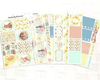 Sunflower Stickers for Erin Condren Planner – 5 Page Vinyl Planner Stickers Kit