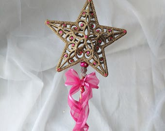 Gold Star Wand with Pink Rhinestone Accents