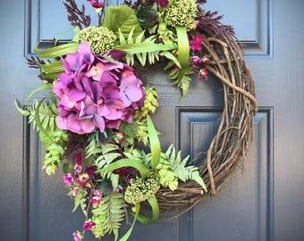 Spring Hydrangea Wreath, Spring Door Wreaths, Door Decor Spring, Wreaths for Spring, Gift for Her, Purple Wreaths, Housewarming, Summer