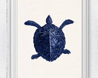 Big turtle in blue- sea life print- Seashore house Wall decor. Marine turtle  sea life illustration , Beach house art, SPA301