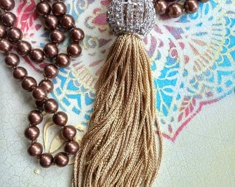Tassel Necklace, Layering Necklace, Brown Tassel Necklace, Long Necklace, Bohemian Jewelry, Pearl Necklace, Tassel Jewelry, Tassels