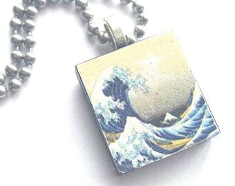 The Great Wave Scrabble Tile Necklace with Stainless Steel Ball Chain