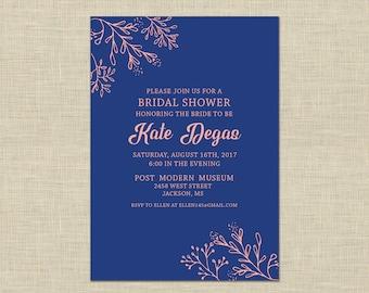 Printable Bridal Shower Invitation, Bridal Brunch Custom Printable 5x7, greenery, blush