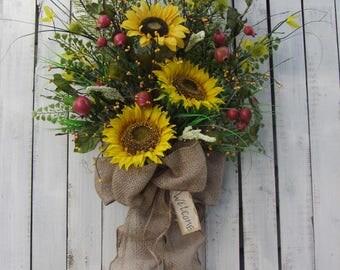 Summer Wreath, Country Wreath,  Autumn Wreath,  Sunflower Wreath,  Fall Wreath,  Sunflower Door Swag - Fall Outside Wreath - Fall Sunflower