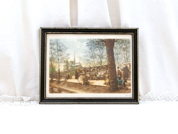 Vintage Original Signed Colored Aquatint Etching of Notre Dame de Paris and the Bouquinistes by Artist Hubert, Framed French Engraving
