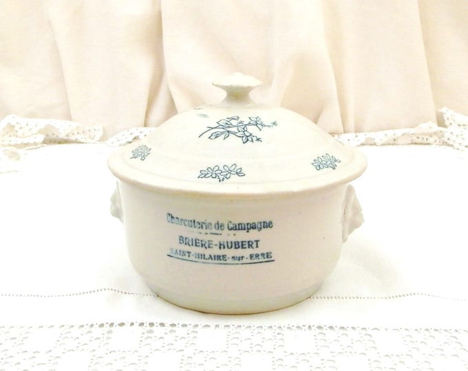 Antique French Lidded China Terrine Pot with Lions Heads Inscribed Charcuterie de Campagne, Ceramic Paté Dish from France, Brocante Decor