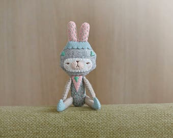 OOAK Geometric Bunny Plush tiny Friend - Ready to ship