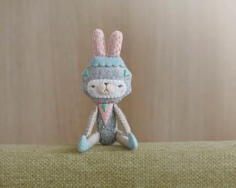 OOAK Geometric Bunny Plush tiny Friend - Ready to ship