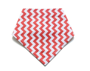 SMALL || Adjustable Bandana Bib || Mini Zig Zag Coral