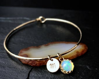 Opal Charm Bracelet / Genuine Ethiopian Welo Opal Bangle / October Birthstone Gift for Mom, Wife, Sister / Sterling Silver or 14k Gold Fill