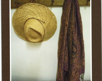 Hat and scarf hanging - photo card