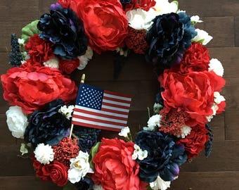 Labor Day Wreath, Patriotic Wreath, Red White and Blue Wreath, Summer Wreath, Front Door Wreaths, Door Hanger, Wreath for Front Door