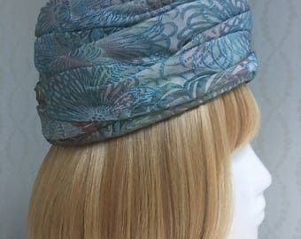 Vintage Blue Brocade Turban Hat by Ann Marie