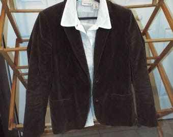 Women's Vintage Brown Corduroy Blazer With Patches