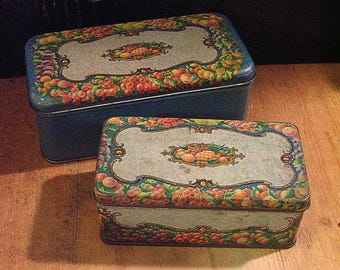 Two 1920s Tindeco Tin Boxes Antique Cake Tins, Pretty Decorative Tins, Vintage Tin Boxes, Fruit, Blue Antique Kitchen