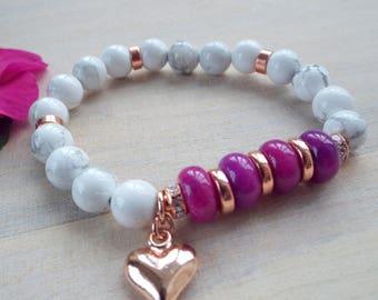 ROSE GOLD and Purple Gemstone Stacking Stretch Bracelet, White Marble Gemstone Summer Bracelet,Purple/Cerise  Beaded Bracelet, byLaurieB