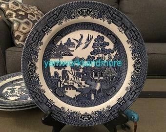 4 Churchill Blue Willow Georgiana Dinner Plates, Staffordshire England, Transferware