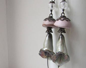 Calling For Her Mind Again - rustic lily earrings w/ artisan ceramics; shabby gothic grungy flower earrings, primitive assemblage earrings