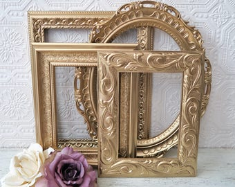 Gold Picture Frame Set Of 4 Empty Shabby Chic Wall Decor