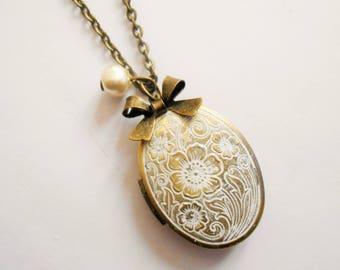locket necklace - photo locket necklace - photo locket pendant - bow necklace - pearl necklace - oval locket - photo necklace