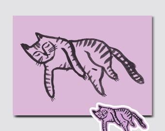 Illustrated Cat A5 Print Postcard *Free Sticker*