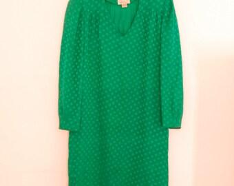 Green Silk Shift Dress - 1980s