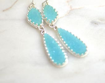 Bright Blue Turquoise and Silver Plated Druzy  Dangle Long Teardrop Fashion Earrings.  Blue Earring.Bridesmaids Jewelry.Turquoise and Silver