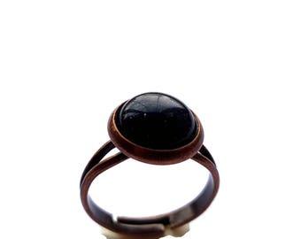 Round Blue Sandstone Cameo Ring Copper