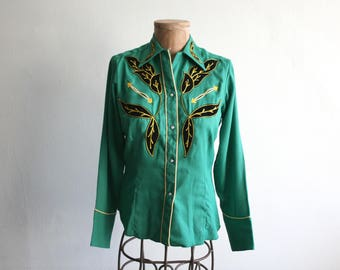 Harris Phoenix Arizona Green Western Shirt 34