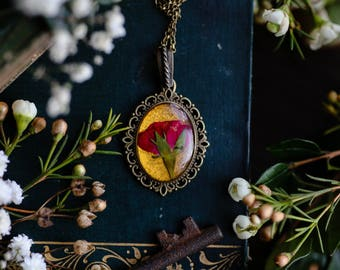 Red rose necklace, romantic gift for her, anniversary gift, nature jewelry, botanical jewelry, nature lover, jewel toned, bohemian jewelry